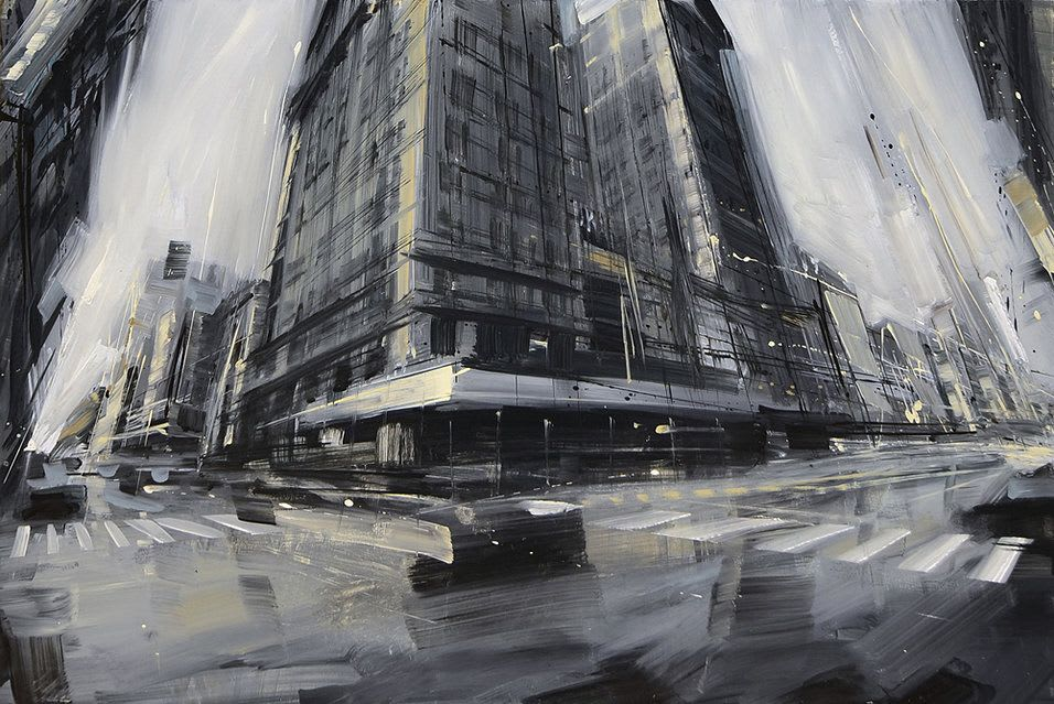 A blurry oil painting of a street corner