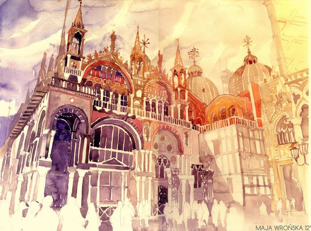 Vibrant watercolor painting of a church