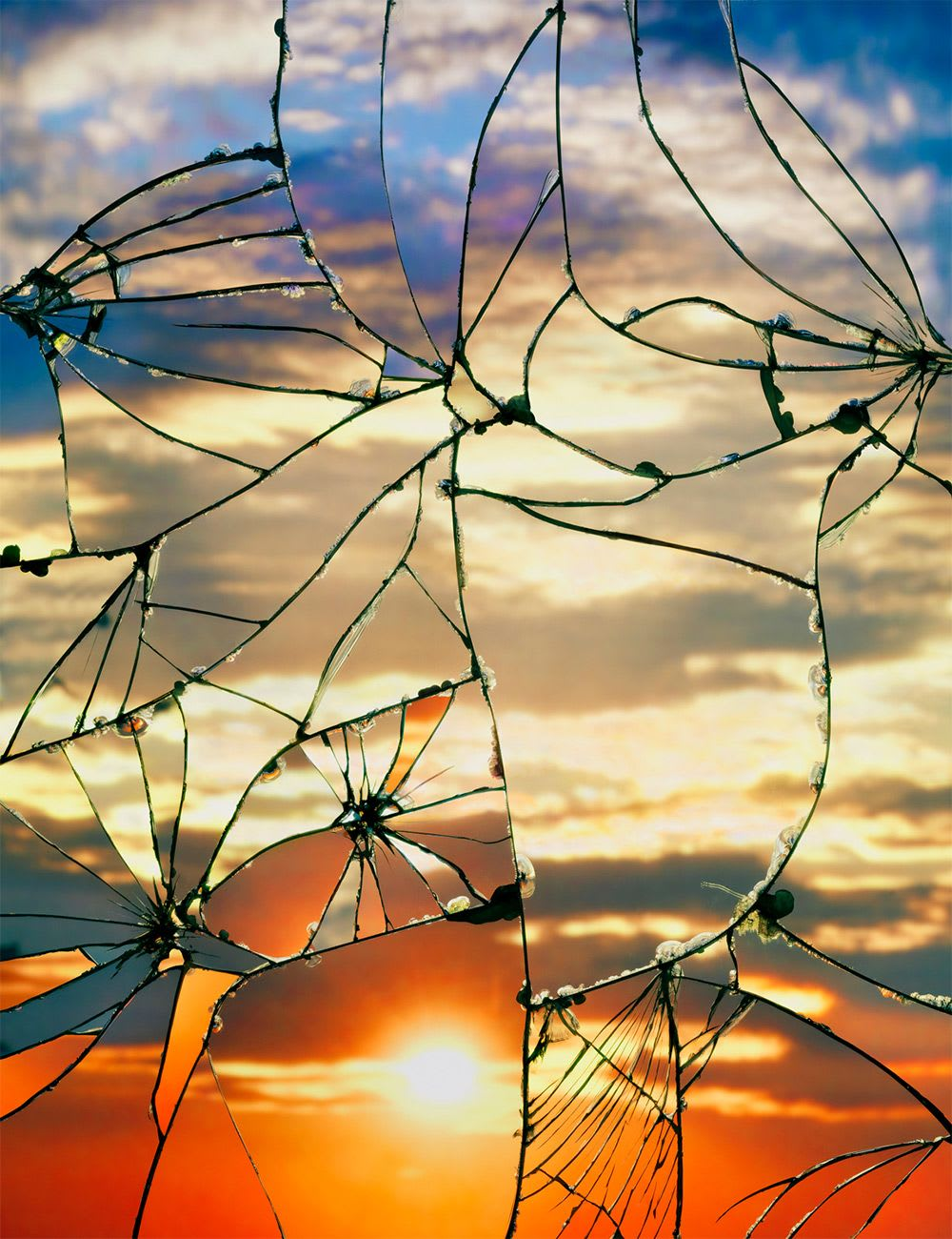 Sunset on a shattered mirror