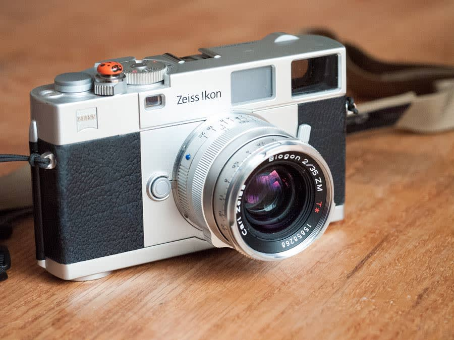 Zeiss Ikon rangefinder camera with the 35mm f/2 mounted