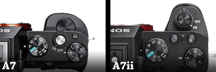The hand grips of the sony A7 on the left and A7ii on the right