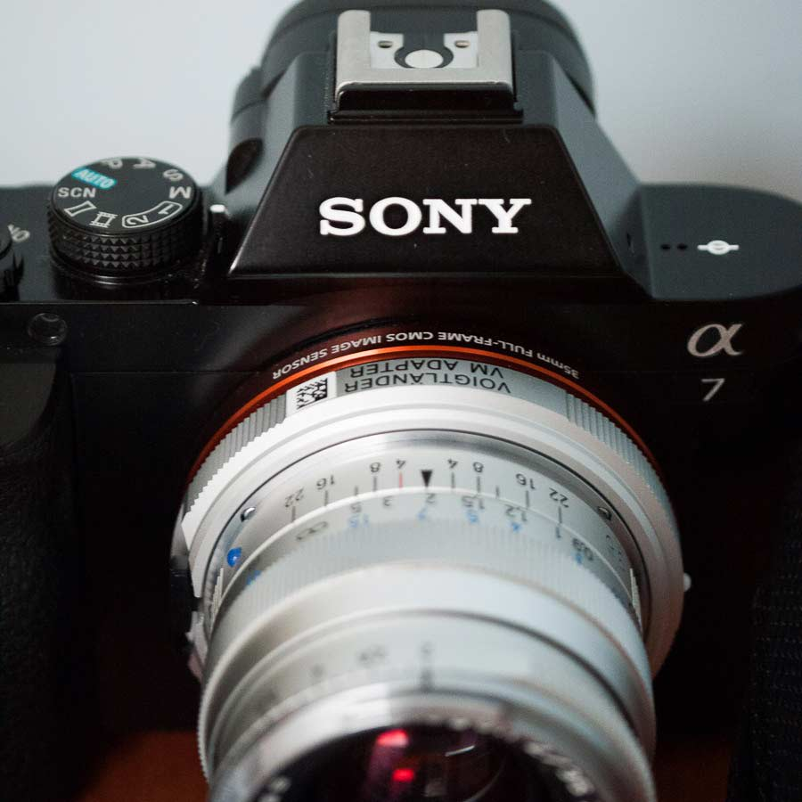 Sony A7 with an adapter and the Zeiss 35 f/2 mounted