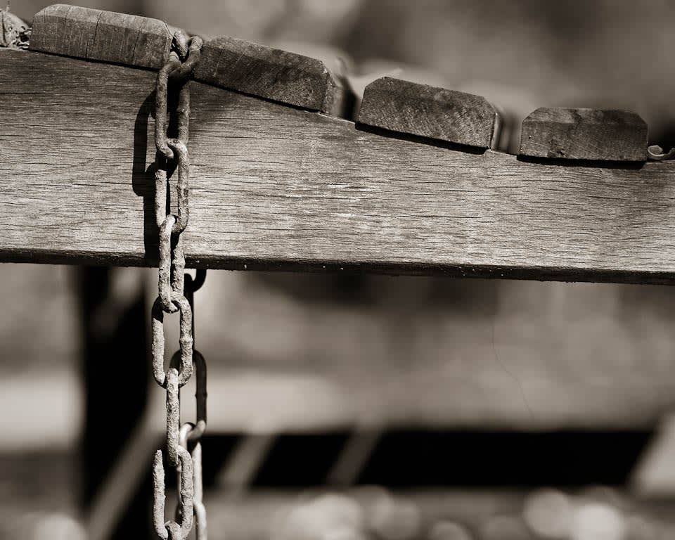A bench, chained down