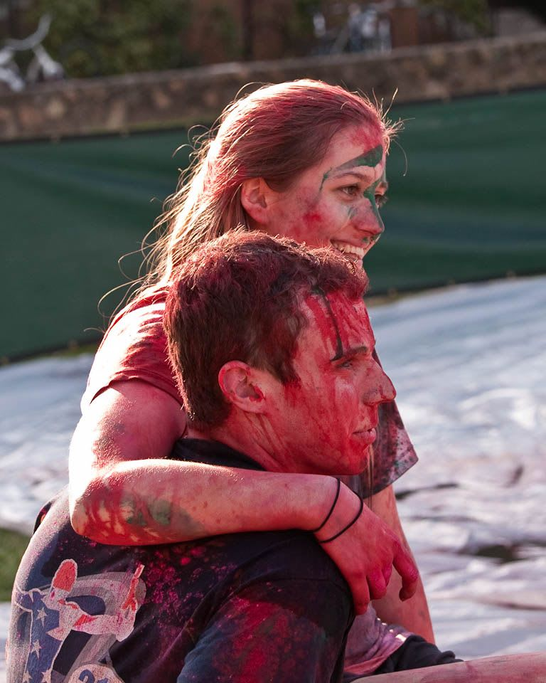 Two students at UNC's Holi Moli event