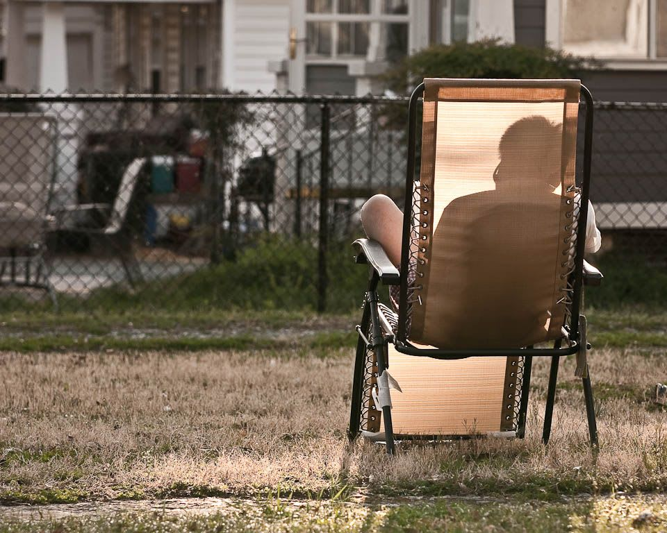 A guy in a lawn chair