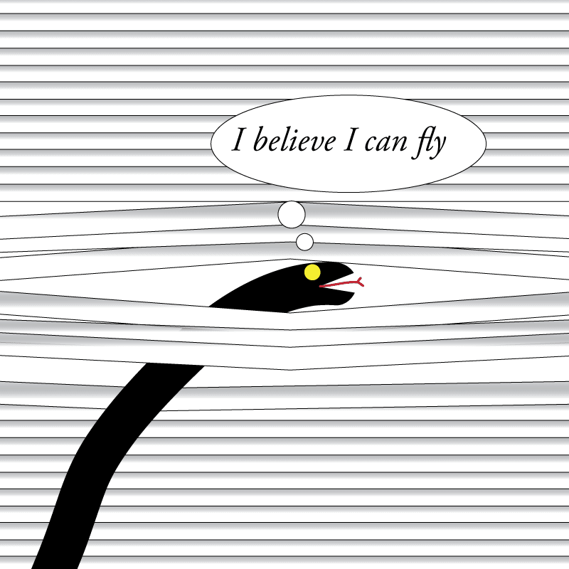 Artist's rendition of a snake in the blinds