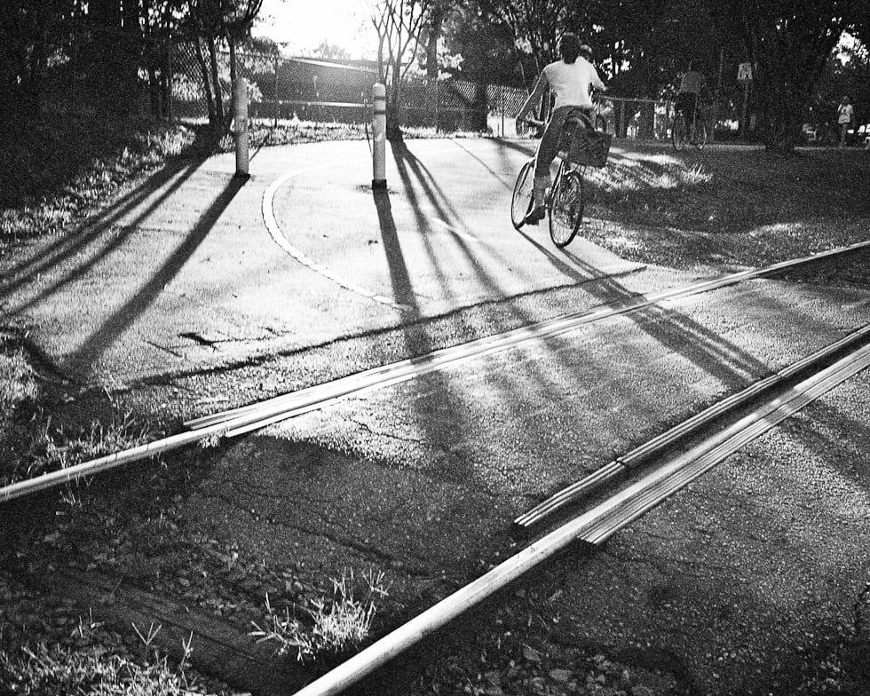 Sunset along a bike path