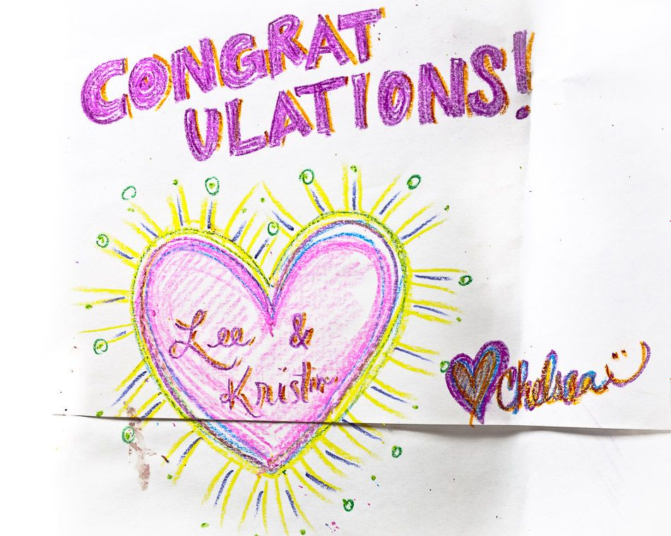 Congratulations in crayon from Chelsea