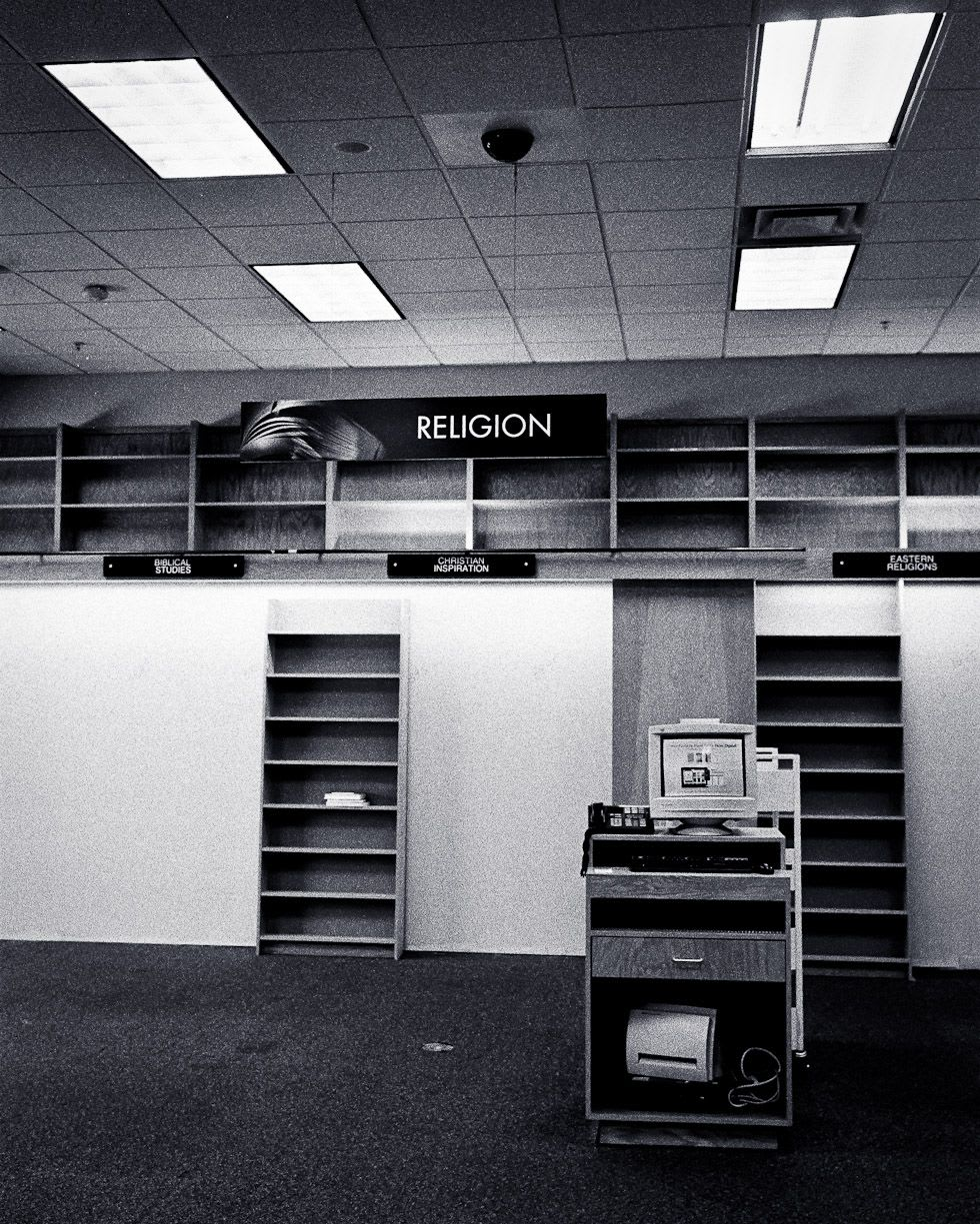 Empty shelves at a book store