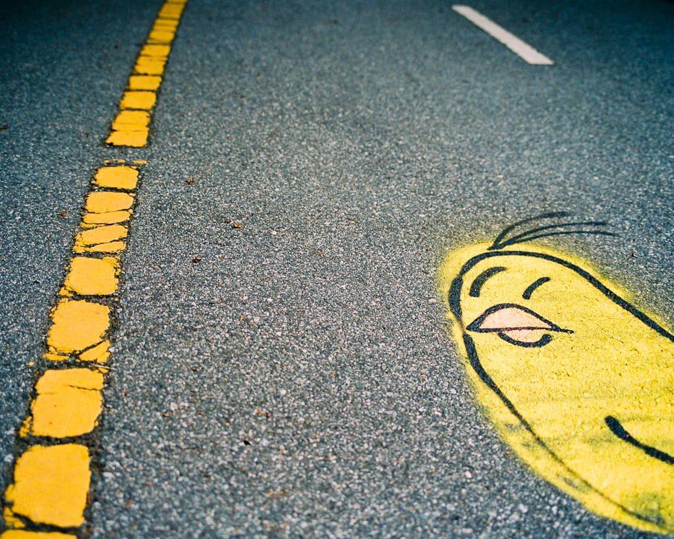 Graffiti on a bike path