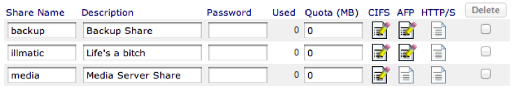 Screen capture of the list of shares in the ReadyNAS admin panel