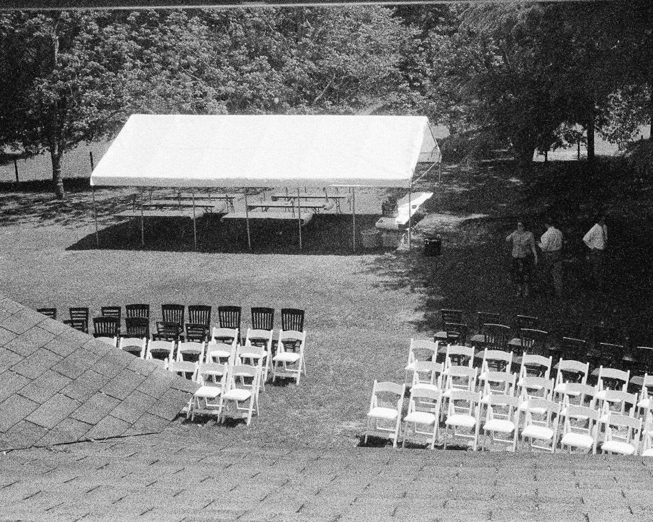 Viewing the seating arrangements and tent