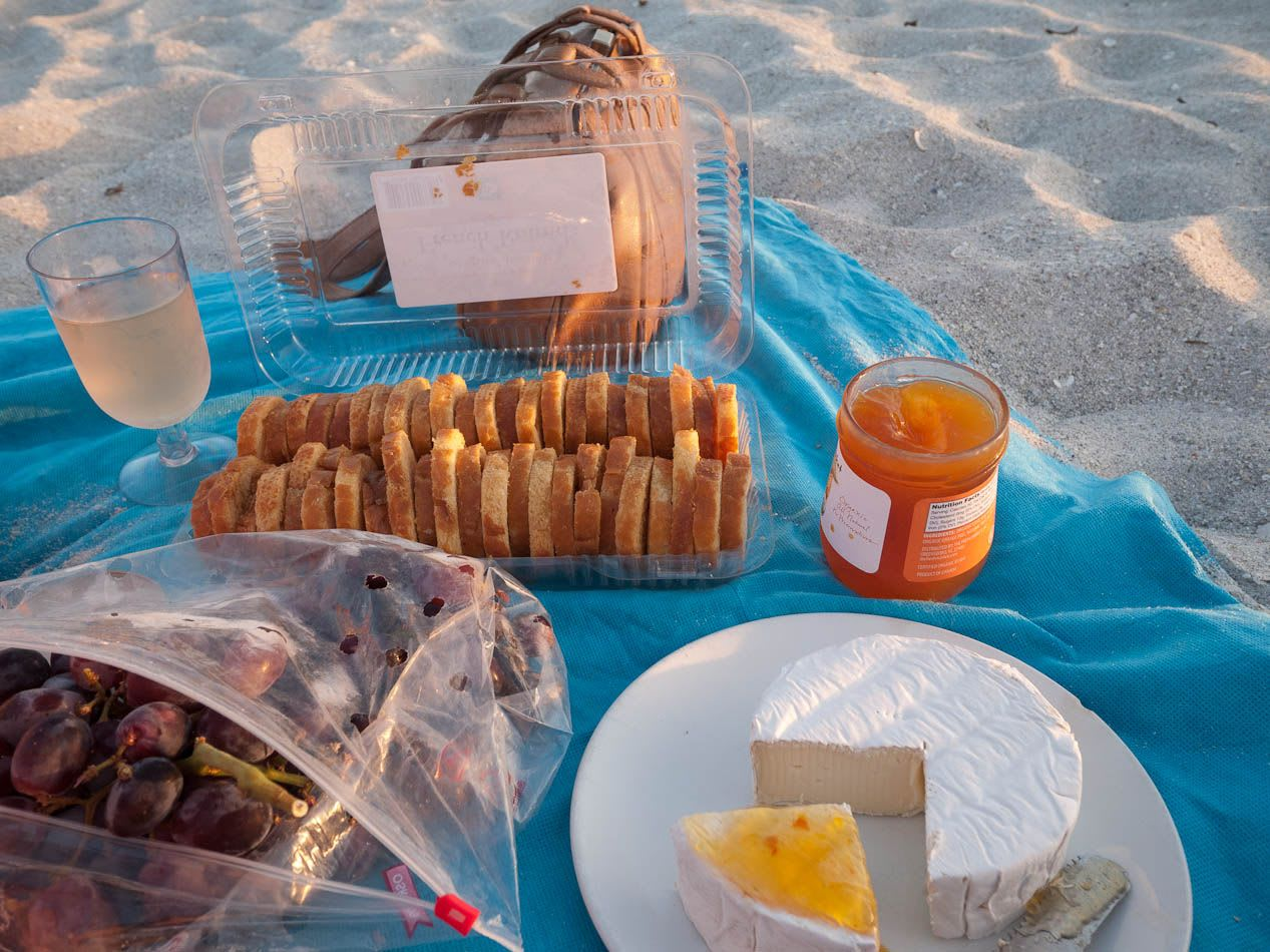 Bread and cheese on the beach