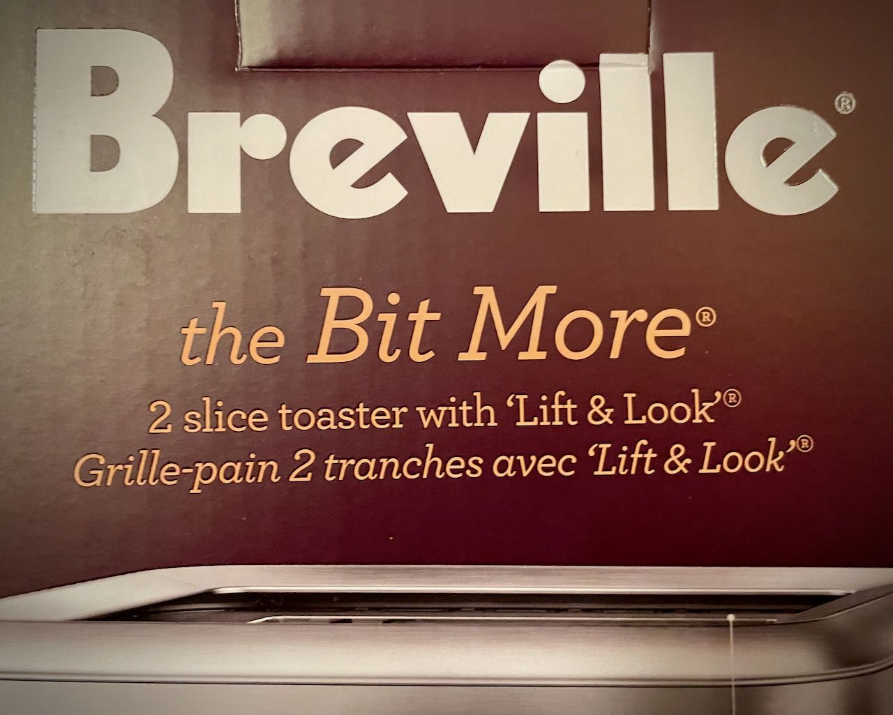 "The box for the Breville ""the Bit More"" toaster"