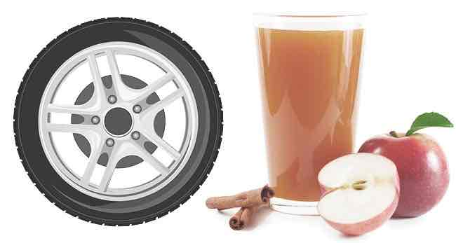 a tire rim and a glass of apple cider
